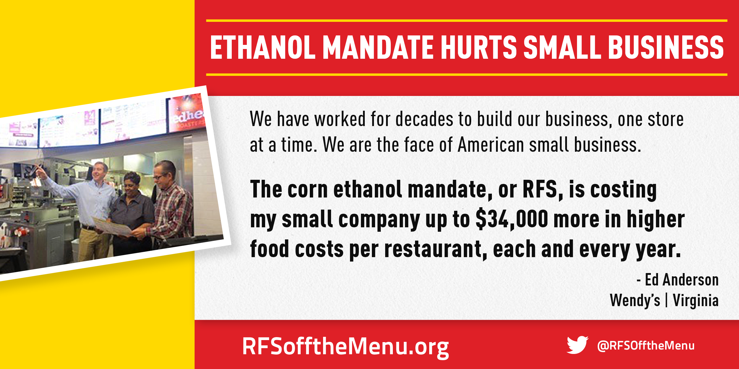 Ethanol Mandate Hurts Small Business - Read Ed Anderson's Story